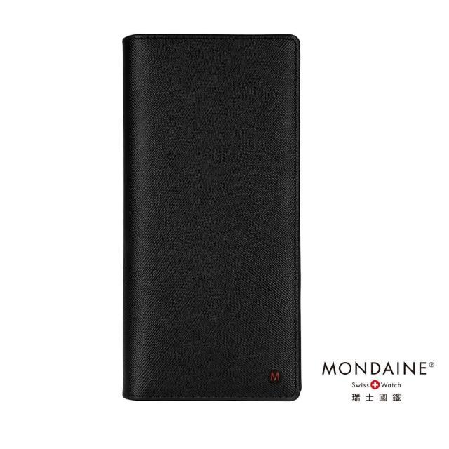【Mondaine瑞士國鐵】牛皮十字紋14卡長夾(黑)