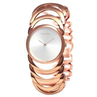 【Calvin Klein】BODY鍊戀時空經典手鍊式不鏽鋼腕錶 玫瑰金 30mm(K4G23626)