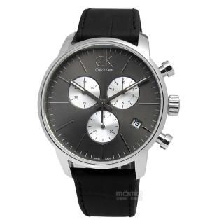 【Calvin Klein】CITY 優雅光環計時指針皮革腕錶 灰x銀框x黑 43mm(K2G271CX)
