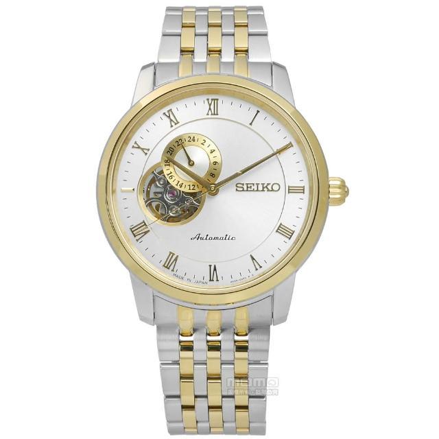 【SEIKO精工】都會紳士機械不鏽鋼腕錶 銀x金框 39mm(4R39-00M0KS.SSA272J1)