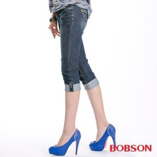【BOBSON】女款反摺褲口七分褲(172-52)