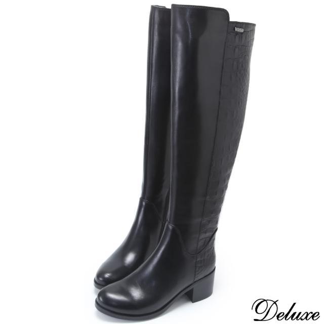 【Deluxe】全真皮帥氣牛皮蛇紋直筒長靴(黑)