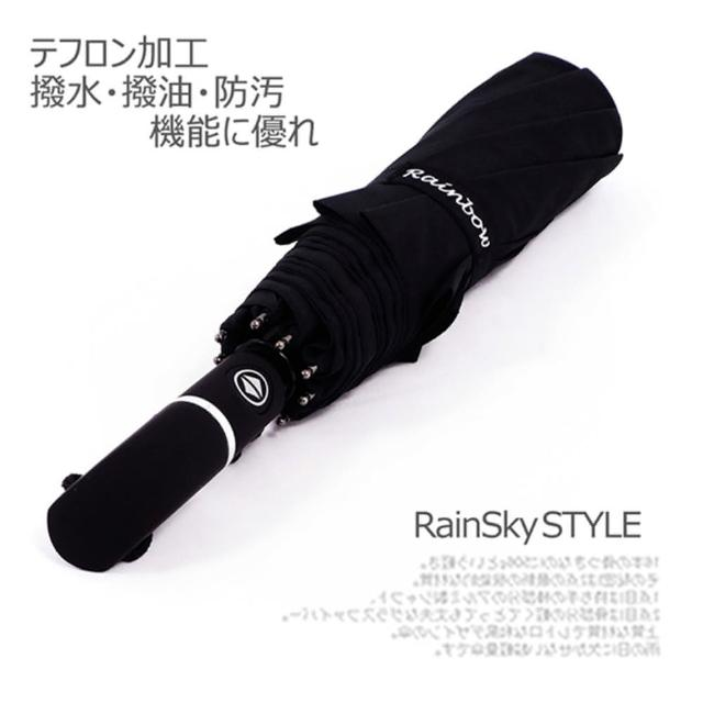 【RainBow】Teflon 大型48吋超潑水自動傘-防風傘/折疊晴雨傘(經典黑)