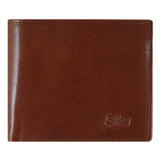 【Sika】意大利素面牛皮简约中性短皮夹含拉鍊零钱匣(A8220-02深咖啡)