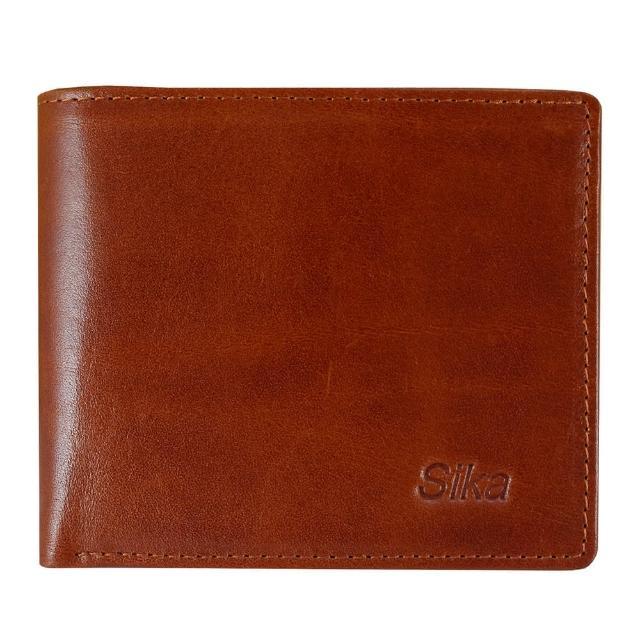 【Sika】意大利素面牛皮简约中性短皮夹含拉鍊零钱匣(A8220-01原味褐)