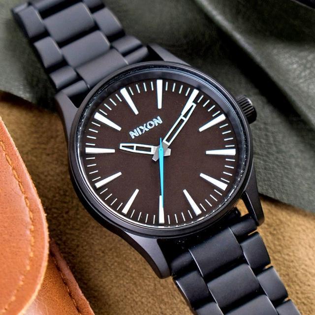 【NIXON】THE SENTRY 38 SS 精品潮流設計指針錶-黑x咖啡(A450-712)
