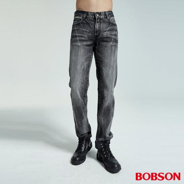 【BOBSON】男款仿皮繡花中直筒褲(1735-87)