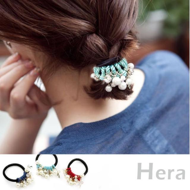 【Hera】赫拉 手工髮飾水鑽珍珠蝴蝶結繞線髮圈/髮束(3色)
