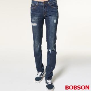 【BOBSON】男款噴漆立體貓鬚直筒褲(1761-53)