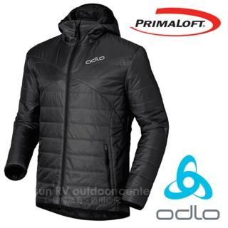 【瑞士 ODLO】男 7折 Primaloft 超輕防風防潑水保暖連帽外套/夾克(525162 墨/黑)