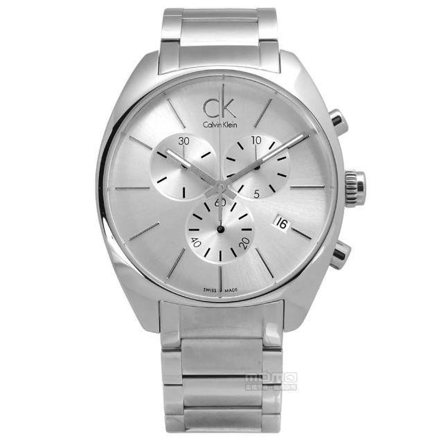 【Calvin Klein】歐美都會大勁三環計時不鏽鋼腕錶 銀色 44mm(K2F27126)