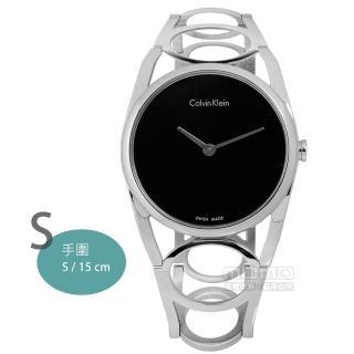 【Calvin Klein】Round 迷人優美光環不鏽鋼腕錶 黑色 32mm(K5U2S141)