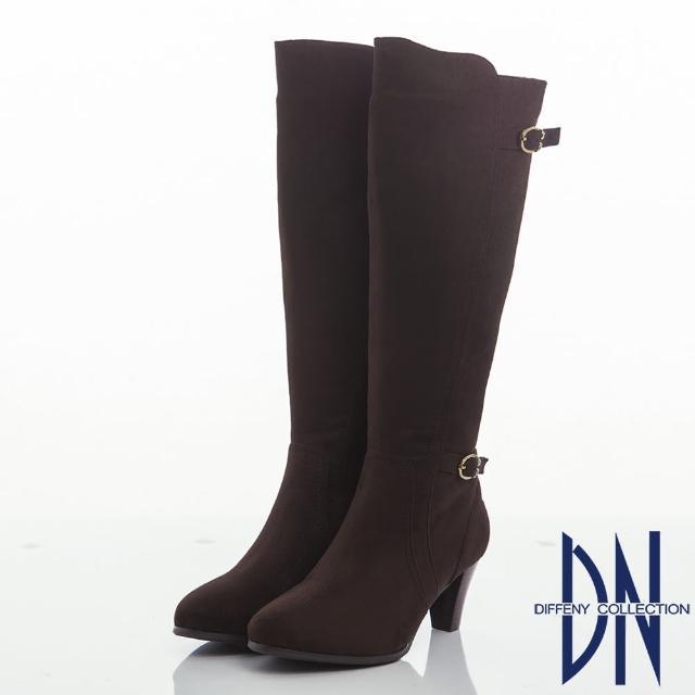 【DN】名媛風潮 百搭顯瘦麂皮絨粗跟長靴(咖)