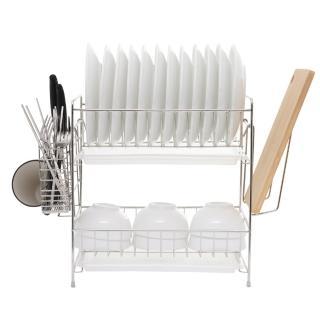 【達人收納】304不鏽鋼免組裝雙層碗盤瀝水架