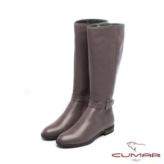【CUMAR】柔美軍裝風-波浪邊條裝飾皮帶平底長靴(灰色)