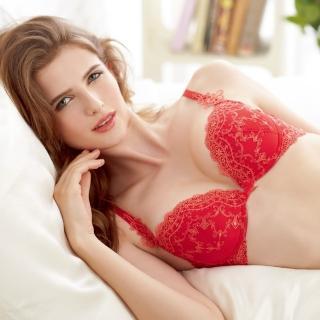 【Lofan露蒂芬】仙黛莉魔術 手工刺繡美胸造波 C-D罩杯-紅(VB6008-RED)
