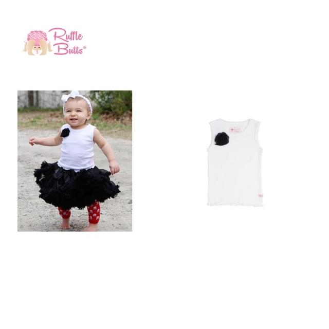 【美國 RuffleButts】甜美小女童背心 黑色小花白色背心(RBTT03)