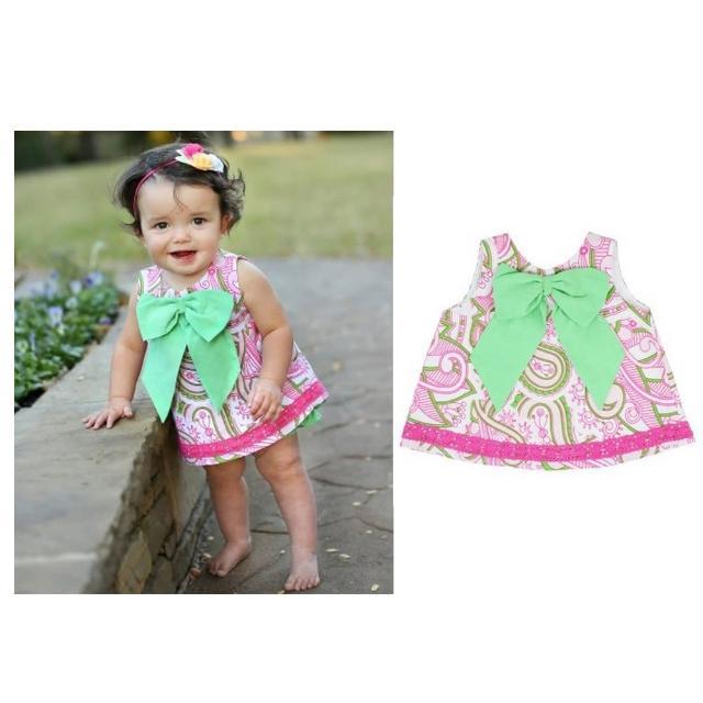 【美國 RuffleButts】小女童甜美荷葉邊搖擺/洋裝 粉綠花園大蝴蝶結(BRSW10)