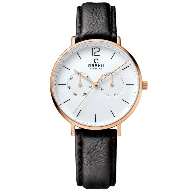 【OBAKU】丹麥皇家簡約雙眼時尚腕錶-白x黑(V182GMVWRB)