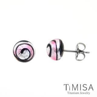 【TiMISA】轉轉繽紛 琉璃純鈦耳環一對(粉紅-網路限定)
