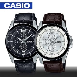 【CASIO 卡西歐】送禮首選 大鏡面 三眼石英男錶 4.2cm(MTP-E306L)