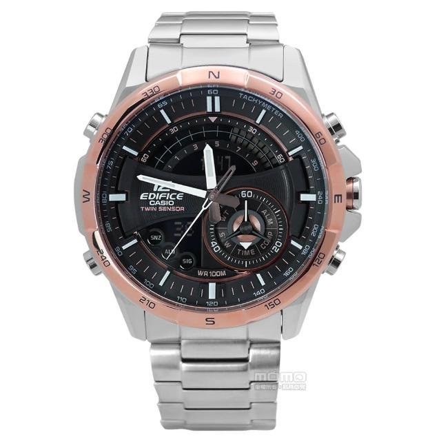 【CASIO卡西歐】★贈皮錶帶 EDIFICE英式紳士不鏽鋼腕錶 黑x玫瑰金框 46mm(ERA-200DB-1A9)