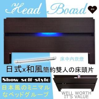 【HOME MALL-日式美學崁燈】雙人床頭片(胡桃色)