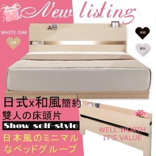 【HOME MALL-日式美學崁燈】雙人床頭片(白橡色)