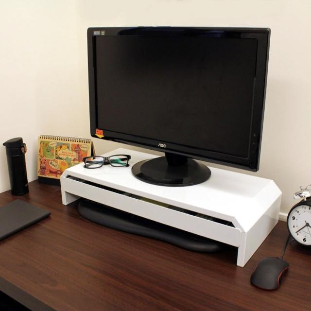 【美佳居】(鐵板製)桌上型-抽屜-螢幕架/置物架(二色可選)