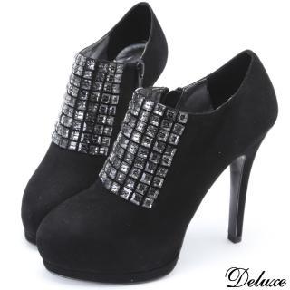 【Deluxe】全真皮優雅水鑽細高跟包鞋(黑)