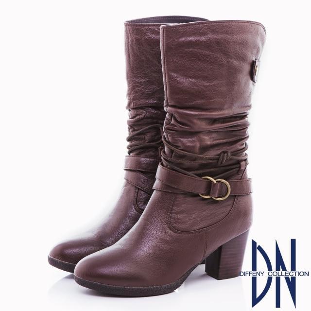 【DN】都會魅力 牛皮抓皺綁繩皮帶中筒靴(咖)