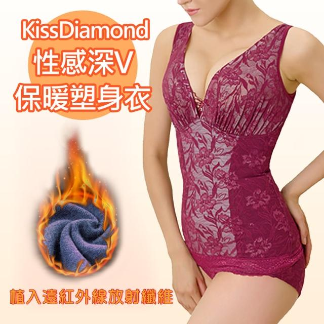 【KissDiamond】性感深v保暖塑身衣-H902-酒紅(布料植入遠紅線放射纖維)
