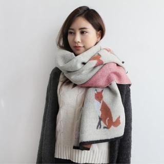 【梨花HaNA】韓國東大門小王子的可愛狐狸厚暖仿羊絨圍巾