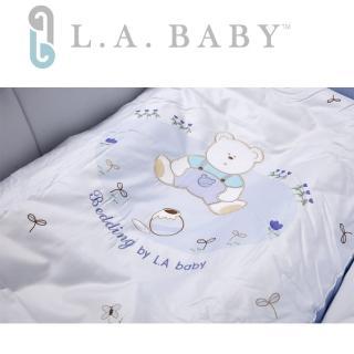 【美國 L.A. Baby】田園巴黎純棉七件式寢具組(M)(MIT 藍色/米黃色)
