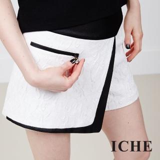 【ICHE 衣哲】黑白對比緹花一片式短裙