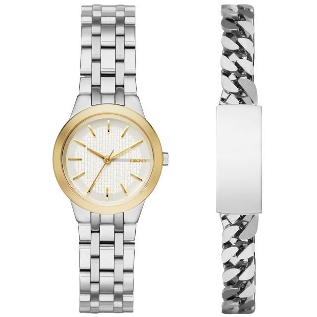 【DKNY】時尚密碼都會套錶組-淡金框x銀(NY2469)