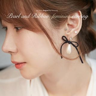 【梨花HaNA】韓國香氛麂皮蝴蝶結吊綴珍珠耳環