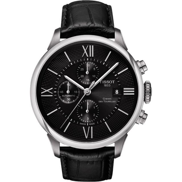 【TISSOT】杜魯爾系列機械計時腕錶-黑/44mm(T0994271605800)