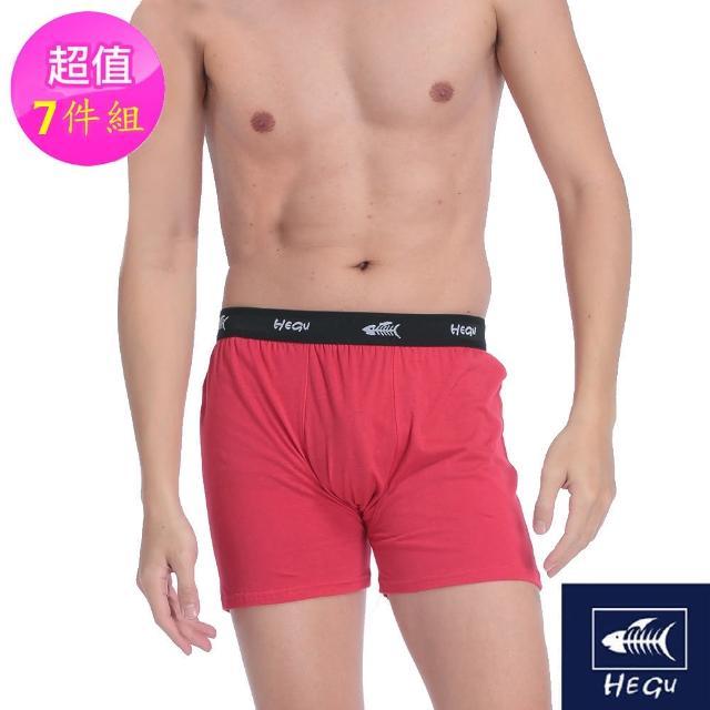 【HeGu】時尚細緻100%蠶絲內襯平口褲7件組(4色_M-XXXL)