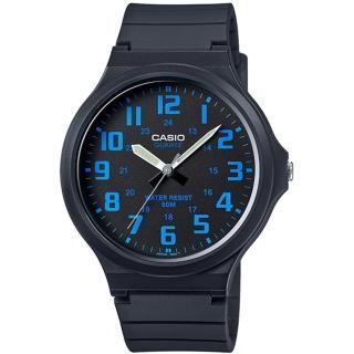 【CASIO】簡約指針設計時尚錶-黑x藍色數字(MW-240-2BVDF)
