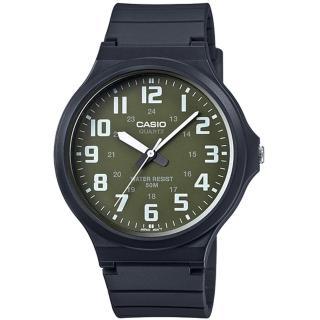 【CASIO】簡約指針設計時尚錶-墨綠x白數字(MW-240-3BVDF)
