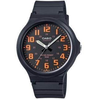 【CASIO】簡約指針設計時尚錶-黑x橘數字(MW-240-4BVDF)