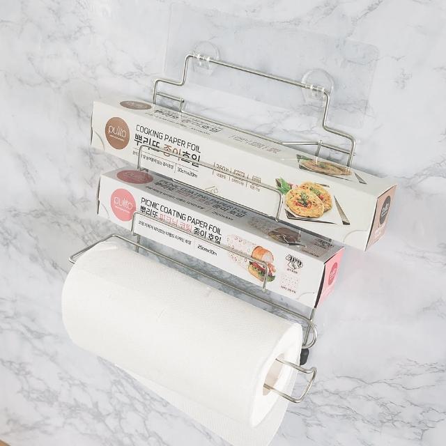 【樂活主義】新魔力霧面無痕貼系列-304不鏽鋼保鮮膜捲筒紙巾架(-搶購)