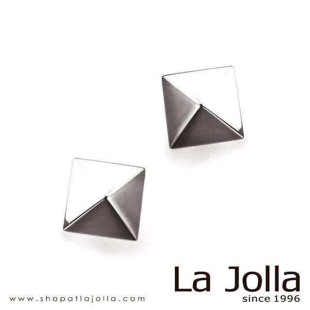 【La Jolla】金字塔 純鈦耳環(銀色)