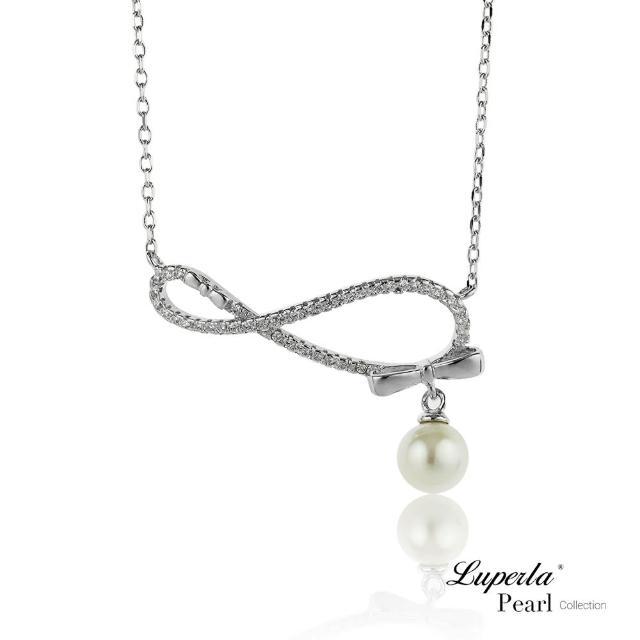 【大東山珠寶】無盡愛戀 純銀晶鑽珍珠項鍊(時尚珍珠)