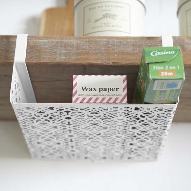 【日本YAMAZAKI】Kirie典雅雕花層板收納籃(白)