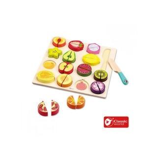 【Classic world 德國經典木玩】水果切切拼圖遊戲組(30PCS)
