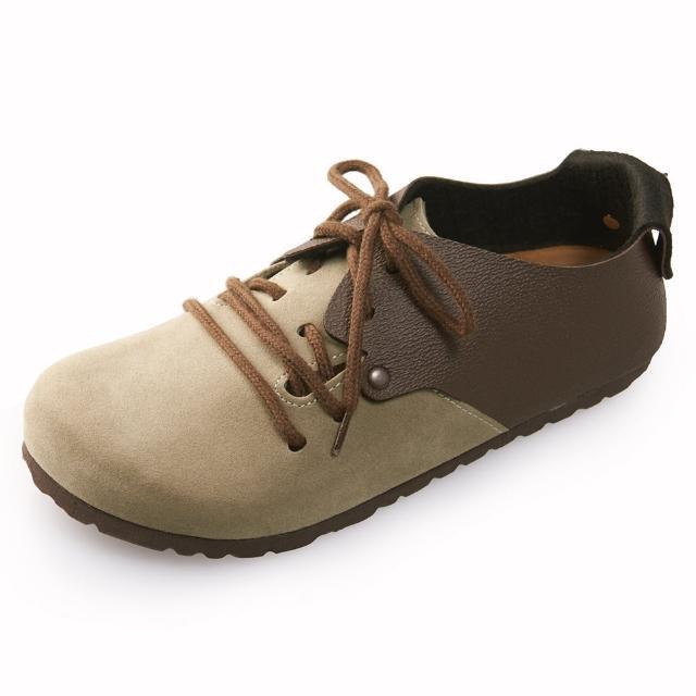 【Joy Walker】休閒撞色拼接綁帶包鞋- 深咖卡其
