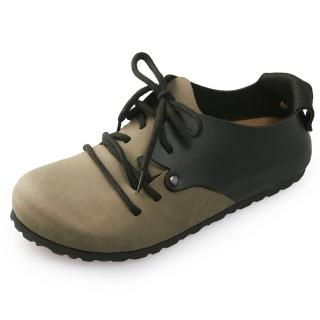 【Joy Walker】休閒撞色拼接綁帶包鞋-卡其黑