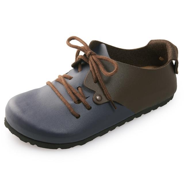 【Joy Walker】休閒撞色拼接綁帶包鞋-藍咖